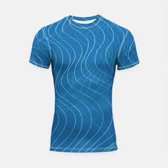 Thumbnail image of Blue Waves Lines  Shortsleeve rashguard, Live Heroes