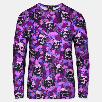 Floral Tropical Jungle Vintage Gothic Skulls Pattern Pink Unisex sweater Bild der Miniatur