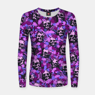 Floral Tropical Jungle Vintage Gothic Skulls Pattern Pink Women sweater thumbnail image