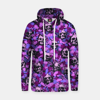 Floral Tropical Jungle Vintage Gothic Skulls Pattern Pink Hoodie thumbnail image