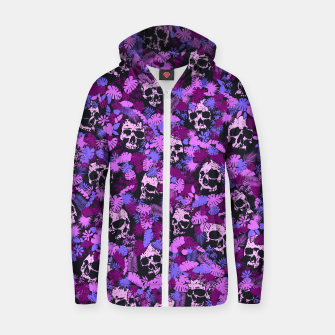 Floral Tropical Jungle Vintage Gothic Skulls Pattern Pink Zip up hoodie thumbnail image