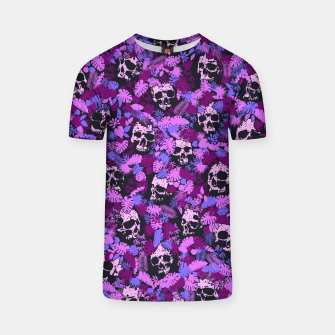 Floral Tropical Jungle Vintage Gothic Skulls Pattern Pink T-shirt thumbnail image