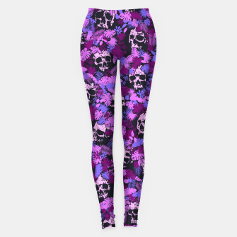 Miniature de image de Floral Tropical Jungle Vintage Gothic Skulls Pattern Pink Leggings, Live Heroes