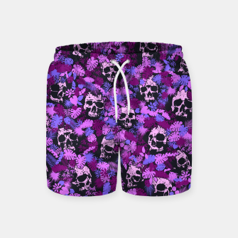 Floral Tropical Jungle Vintage Gothic Skulls Pattern Pink Swim Shorts Bild der Miniatur
