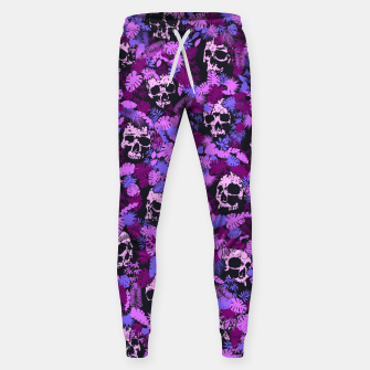 Miniature de image de Floral Tropical Jungle Vintage Gothic Skulls Pattern Pink Sweatpants, Live Heroes