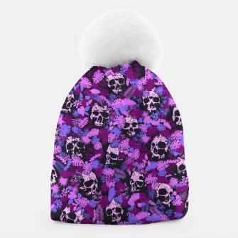 Miniatur Floral Tropical Jungle Vintage Gothic Skulls Pattern Pink Beanie, Live Heroes