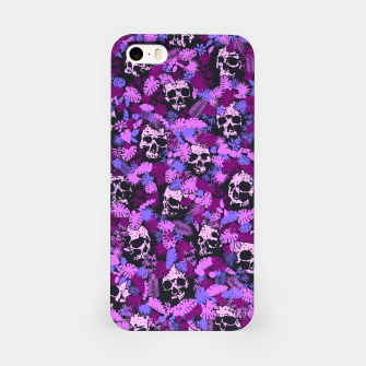 Floral Tropical Jungle Vintage Gothic Skulls Pattern Pink iPhone Case thumbnail image