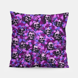 Floral Tropical Jungle Vintage Gothic Skulls Pattern Pink Pillow thumbnail image