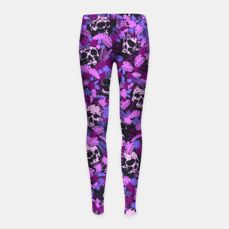 Miniatur Floral Tropical Jungle Vintage Gothic Skulls Pattern Pink Girl's leggings, Live Heroes