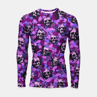 Thumbnail image of Floral Tropical Jungle Vintage Gothic Skulls Pattern Pink Longsleeve rashguard , Live Heroes