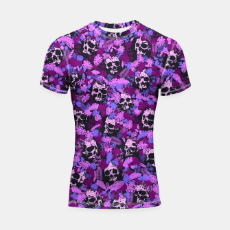 Thumbnail image of Floral Tropical Jungle Vintage Gothic Skulls Pattern Pink Shortsleeve rashguard, Live Heroes