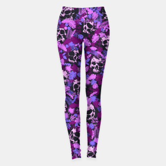 Thumbnail image of Floral Tropical Jungle Vintage Gothic Skulls Pattern Pink Leggings, Live Heroes