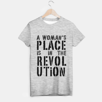 Imagen en miniatura de A woman's place is in the revolution, black text T-shirt regular, Live Heroes
