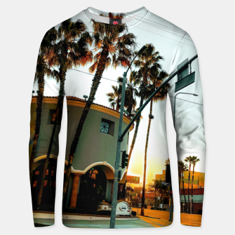 Miniatur road in the city with sunrise sky at Encino, Los Angeles, USA Unisex sweater, Live Heroes