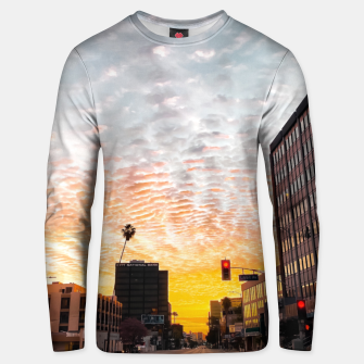 Miniatur city sunrise at Encino, Los Angeles, USA Unisex sweater, Live Heroes