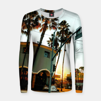 Miniatur road in the city with sunrise sky at Encino, Los Angeles, USA Women sweater, Live Heroes