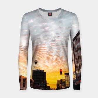 Miniatur city sunrise at Encino, Los Angeles, USA Women sweater, Live Heroes
