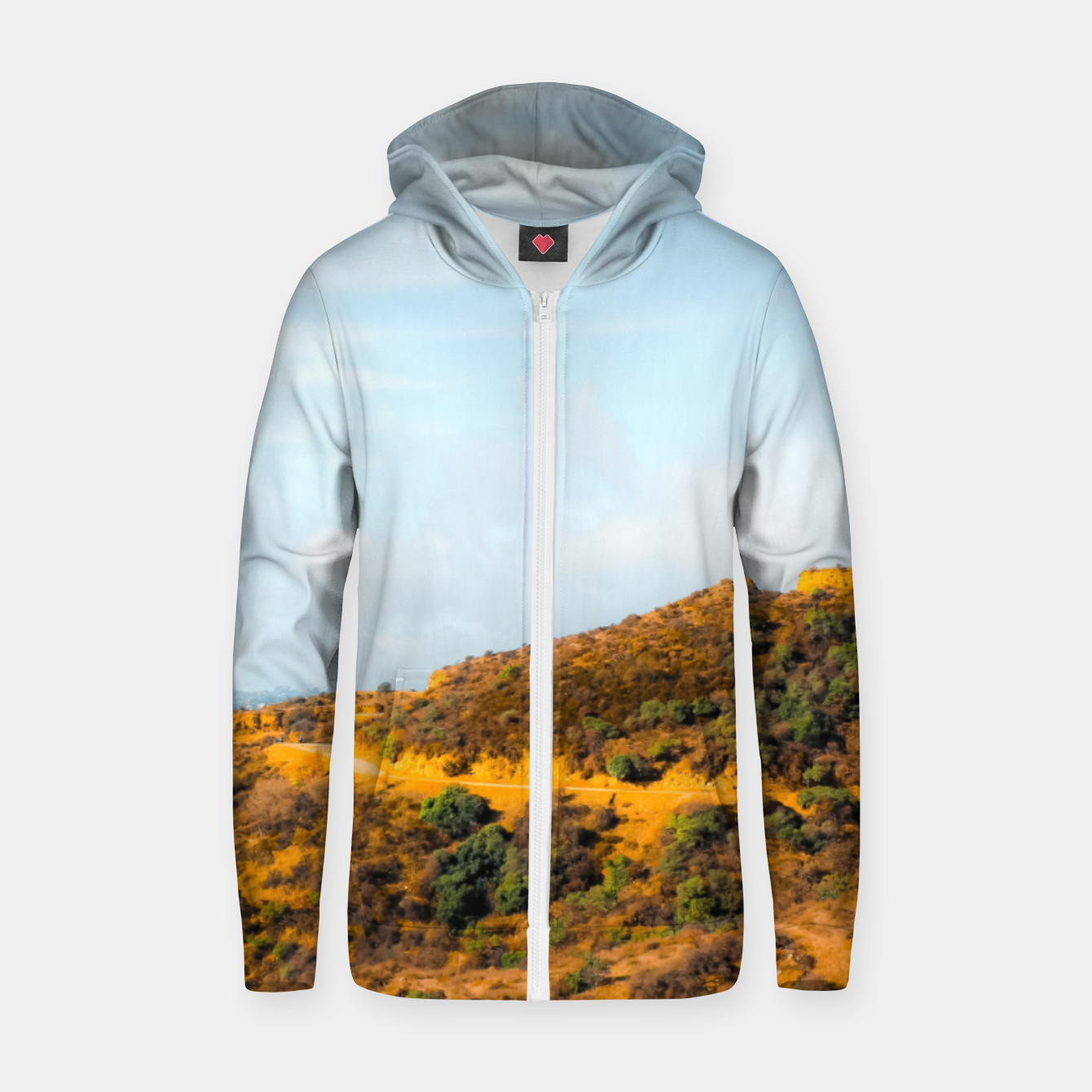 Image of Hiking trail scenic to Hollywood Sign, Los Angeles, USA Zip up hoodie - Live Heroes
