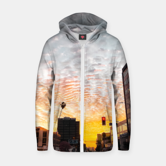 Miniatur city sunrise at Encino, Los Angeles, USA Zip up hoodie, Live Heroes