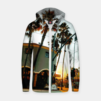 Miniatur road in the city with sunrise sky at Encino, Los Angeles, USA Zip up hoodie, Live Heroes