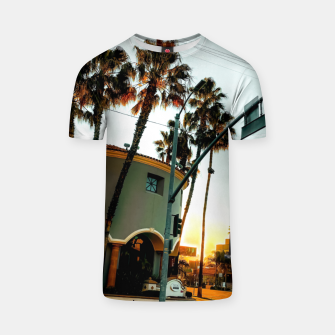 Miniatur road in the city with sunrise sky at Encino, Los Angeles, USA T-shirt, Live Heroes