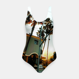 Miniatur road in the city with sunrise sky at Encino, Los Angeles, USA Swimsuit, Live Heroes
