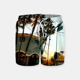 Miniatur road in the city with sunrise sky at Encino, Los Angeles, USA Swim Shorts, Live Heroes