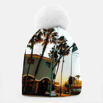 Miniatur road in the city with sunrise sky at Encino, Los Angeles, USA Beanie, Live Heroes
