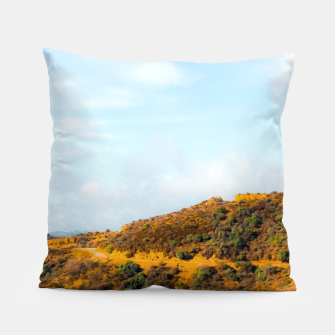 Hiking trail scenic to Hollywood Sign, Los Angeles, USA Pillow thumbnail image