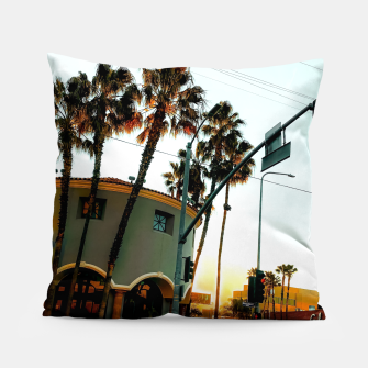 Miniatur road in the city with sunrise sky at Encino, Los Angeles, USA Pillow, Live Heroes