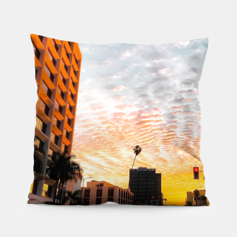 Miniatur city sunrise at Encino, Los Angeles, USA Pillow, Live Heroes