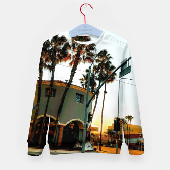 Miniatur road in the city with sunrise sky at Encino, Los Angeles, USA Kid's sweater, Live Heroes