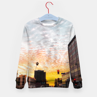 Miniatur city sunrise at Encino, Los Angeles, USA Kid's sweater, Live Heroes