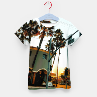 Miniatur road in the city with sunrise sky at Encino, Los Angeles, USA Kid's t-shirt, Live Heroes