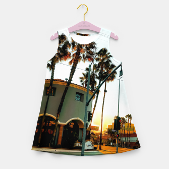 Miniatur road in the city with sunrise sky at Encino, Los Angeles, USA Girl's summer dress, Live Heroes