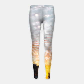 Miniatur city sunrise at Encino, Los Angeles, USA Girl's leggings, Live Heroes