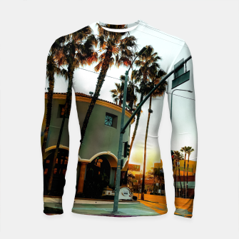 Thumbnail image of road in the city with sunrise sky at Encino, Los Angeles, USA Longsleeve rashguard , Live Heroes
