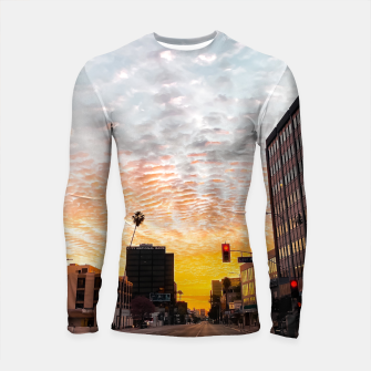 Miniatur city sunrise at Encino, Los Angeles, USA Longsleeve rashguard , Live Heroes