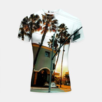 Thumbnail image of road in the city with sunrise sky at Encino, Los Angeles, USA Shortsleeve rashguard, Live Heroes