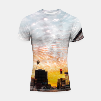Miniatur city sunrise at Encino, Los Angeles, USA Shortsleeve rashguard, Live Heroes