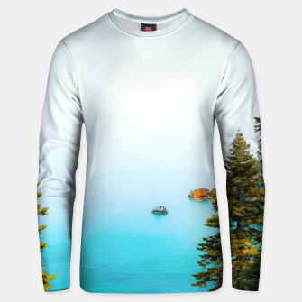 Thumbnail image of boat on the blue lake at Lake Tahoe, California, USA Unisex sweater, Live Heroes
