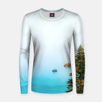 Thumbnail image of boat on the blue lake at Lake Tahoe, California, USA Women sweater, Live Heroes
