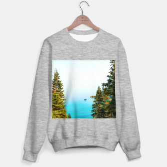 Thumbnail image of boat on the blue lake at Lake Tahoe, California, USA Sweater regular, Live Heroes