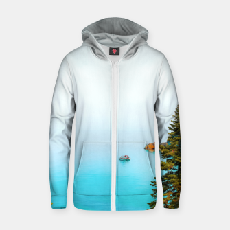 Thumbnail image of boat on the blue lake at Lake Tahoe, California, USA Zip up hoodie, Live Heroes
