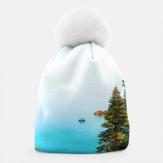 Thumbnail image of boat on the blue lake at Lake Tahoe, California, USA Beanie, Live Heroes