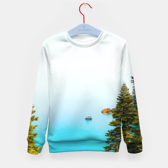 Thumbnail image of boat on the blue lake at Lake Tahoe, California, USA Kid's sweater, Live Heroes