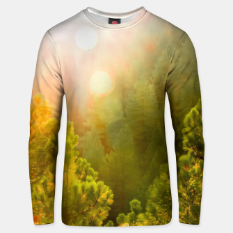 Thumbnail image of green pine tree with sunlight at Lake Tahoe, Nevada, USA Unisex sweater, Live Heroes