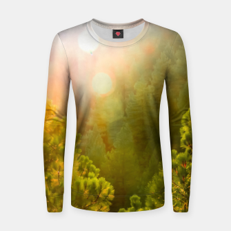 Thumbnail image of green pine tree with sunlight at Lake Tahoe, Nevada, USA Women sweater, Live Heroes