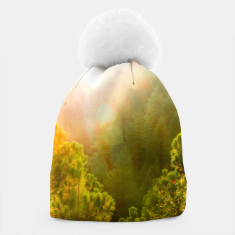 Thumbnail image of green pine tree with sunlight at Lake Tahoe, Nevada, USA Beanie, Live Heroes