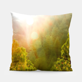 Thumbnail image of green pine tree with sunlight at Lake Tahoe, Nevada, USA Pillow, Live Heroes